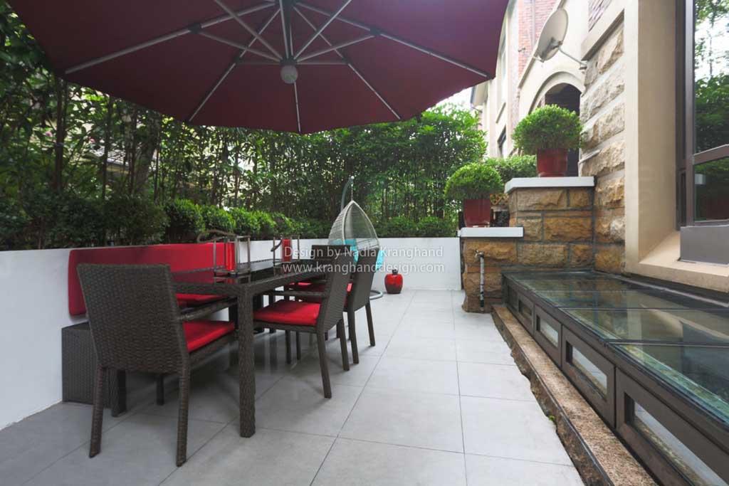 Minimalistische tuin in een buitenwijk van sjanghai. sjanghai