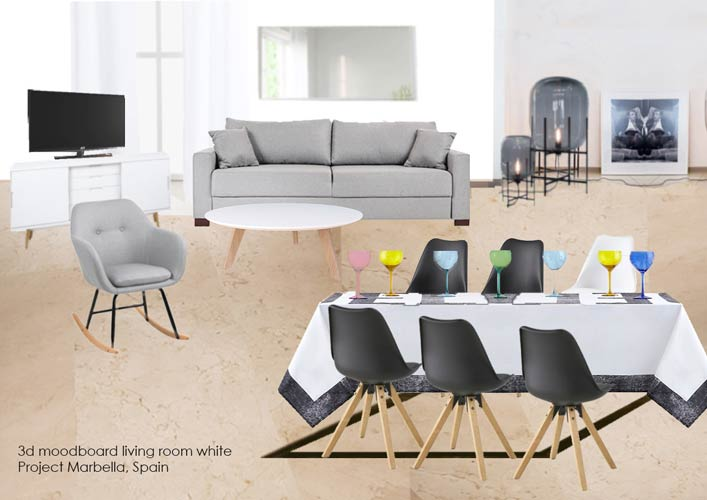 4. 3d moodboard living room white